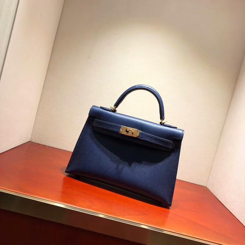 爱马仕包包 Mini Kelly二代 19cm Epsom 73 Blue Saphir 宝石蓝 金扣 顶级工艺 手缝蜡线