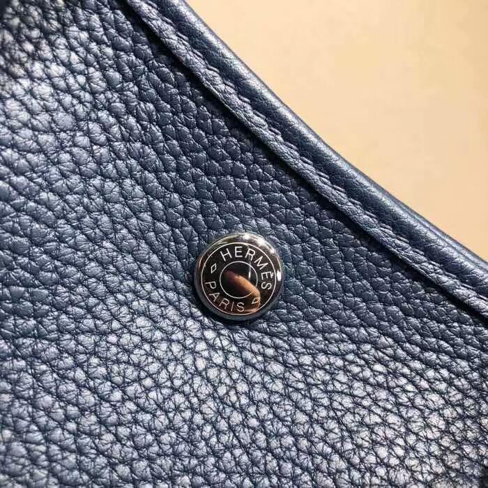 爱马仕花园包 Garden Party 30cm Negonda 73 Blue Saphir 宝石蓝 银扣 顶级工艺手缝蜡线