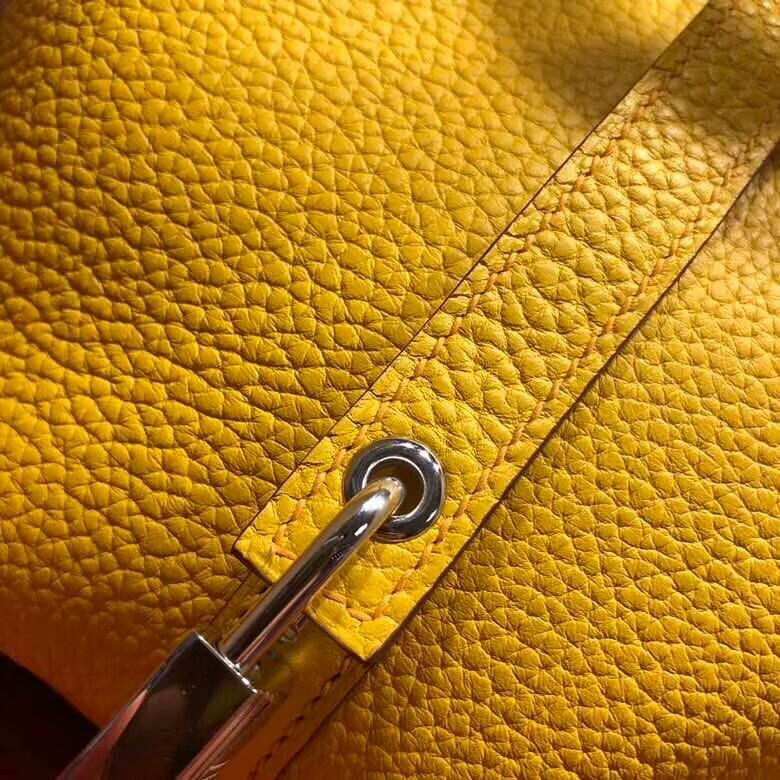 爱马仕菜篮子 Picotin Lock 18cm Clemence 9D Jaune Amber 琥珀黄拼 2T Blue Paradis 天堂蓝 银扣