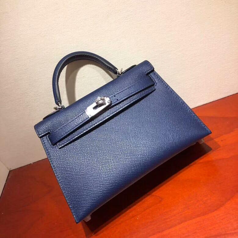 爱马仕包包 Mini Kelly二代 19cm Epsom 73 Blue Saphir 宝石蓝 银扣 顶级工艺 手缝蜡线