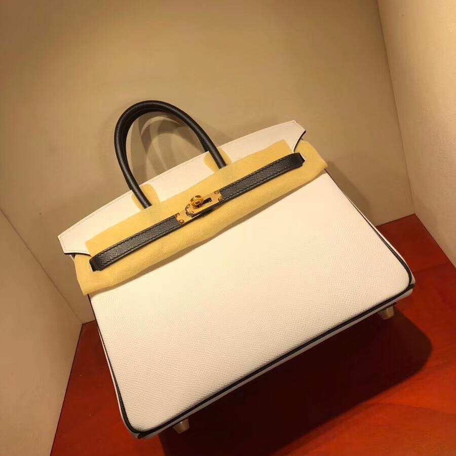 爱马仕铂金包 Birkin 25cm Epsom 1 Blanc 纯白拼89 Noir 黑色 金扣 H家进入全新拼色时代