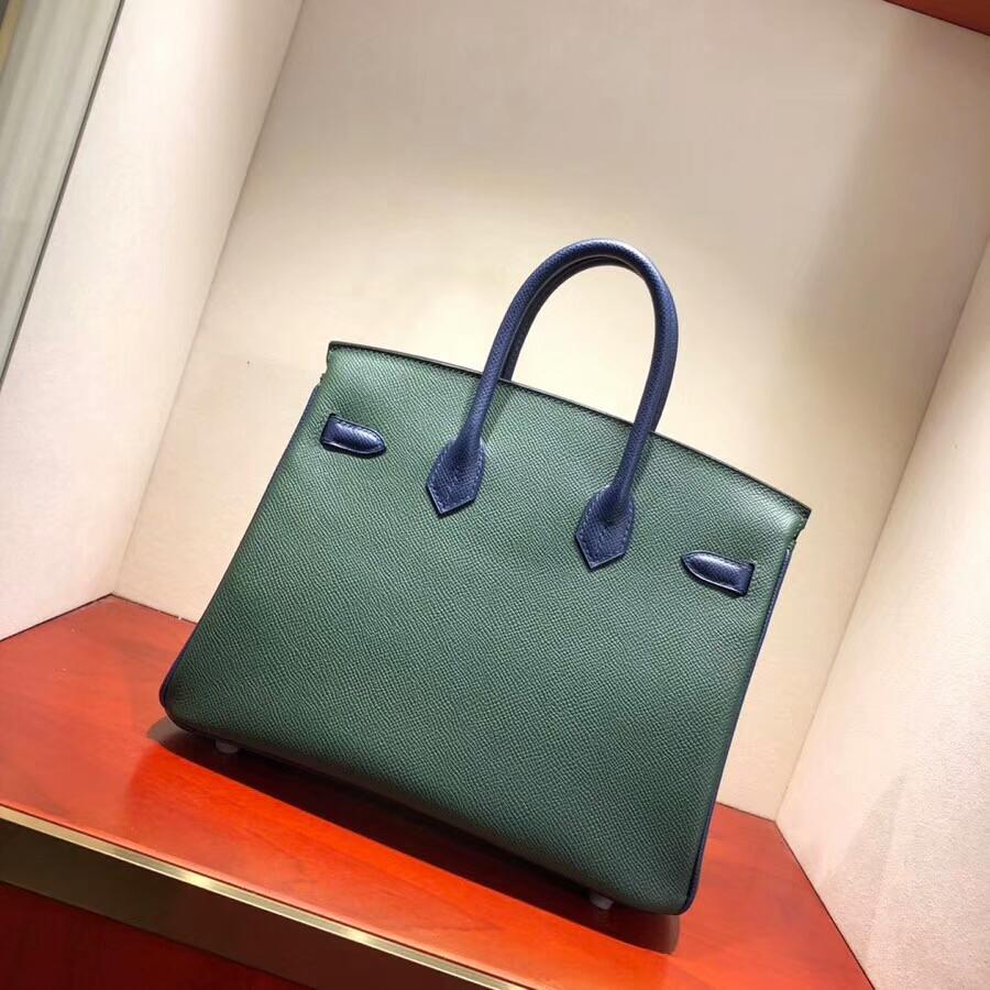 爱马仕铂金包 Birkin 25cm Epsom 2Q Vert Amclais 英国绿拼 73 Blue Saphir 宝石蓝 银扣 H家进入全新拼色时代