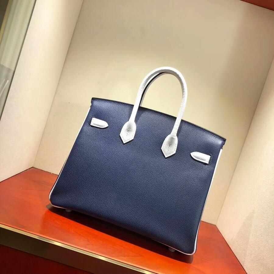 爱马仕铂金包 Birkin 25cm Epsom 73 Blue Saphir 宝石蓝拼 1 Blanc 纯白 银扣 H家进入全新拼色时代