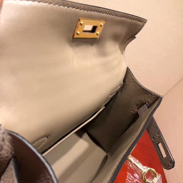 爱马仕包包 Mini Kelly二代 19cm Epsom M8 Gris Asphalte 沥青灰 公路灰 金扣 顶级工艺 手缝蜡线