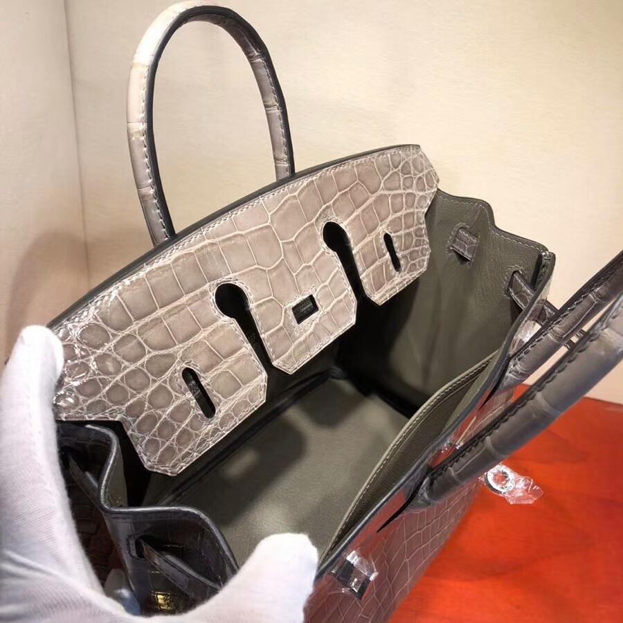 Hermes爱马仕 Birkin铂金包 25cm Shiny Niloticus Crocodile 亮面两点尼罗鳄 81 Gris Tourterle 斑鸠灰 银扣