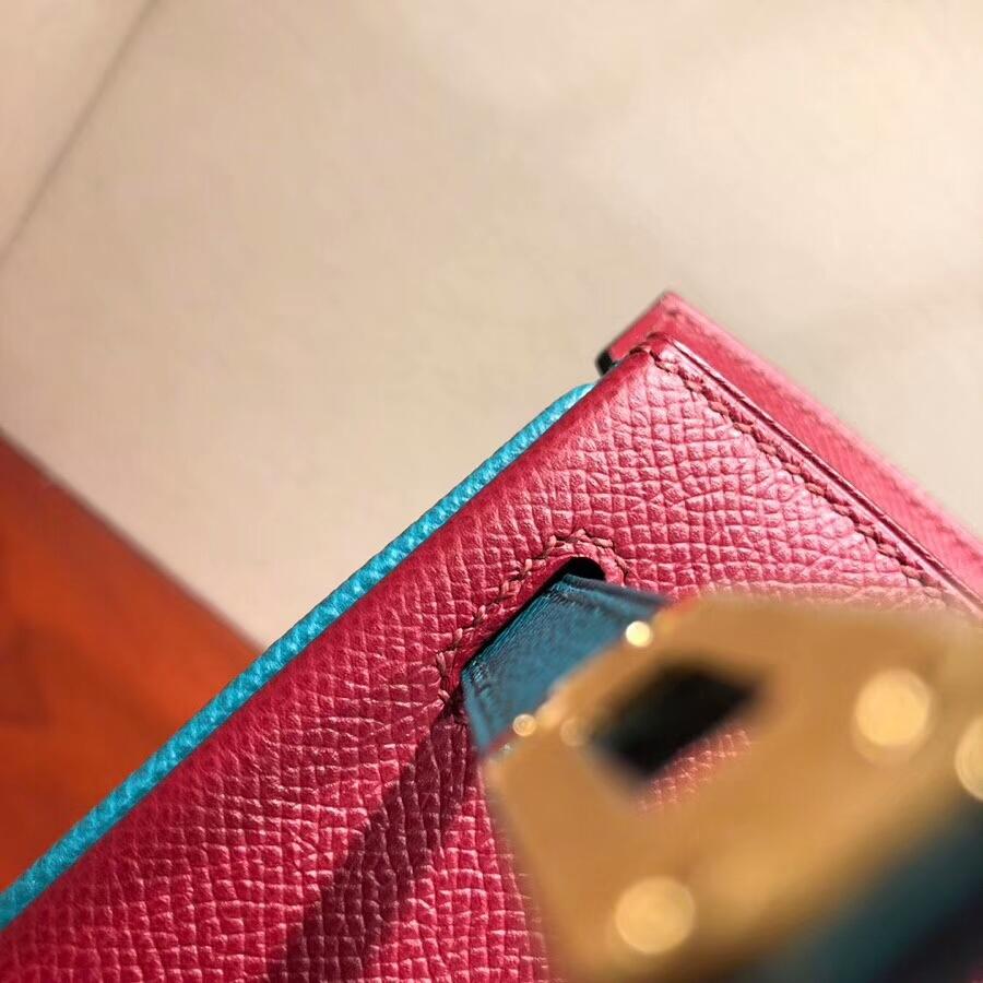 爱马仕铂金包 Birkin 25cm Epsom K1 Rouge Grenat 石榴红拼7F Blue Paon 孔雀蓝 金扣 H家进入全新拼色时代