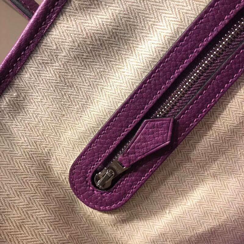 爱马仕花园包 Garden Party 30cm Negonda P9 Anemonb 海葵紫 银扣 顶级工艺手缝蜡线