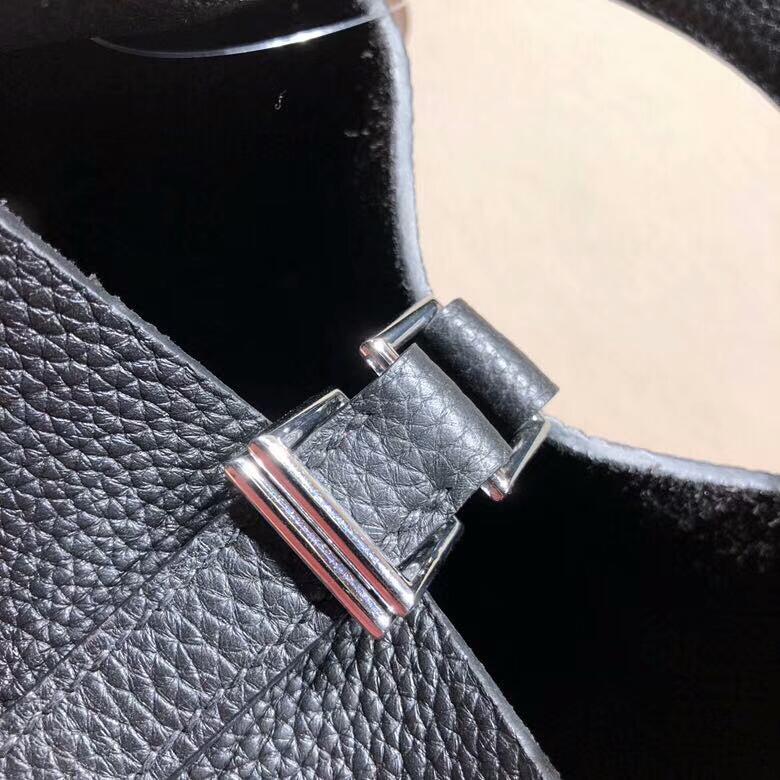 爱马仕菜篮子 Picotin Lock 18cm Clemence 89 Noir 黑色 银扣 回头率百分百
