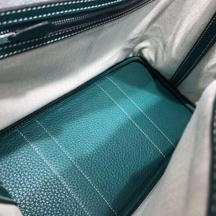 爱马仕花园包 Garden Party 30cm Tc Z6 Malachite 孔雀绿 白线 银扣 顶级工艺手缝蜡线