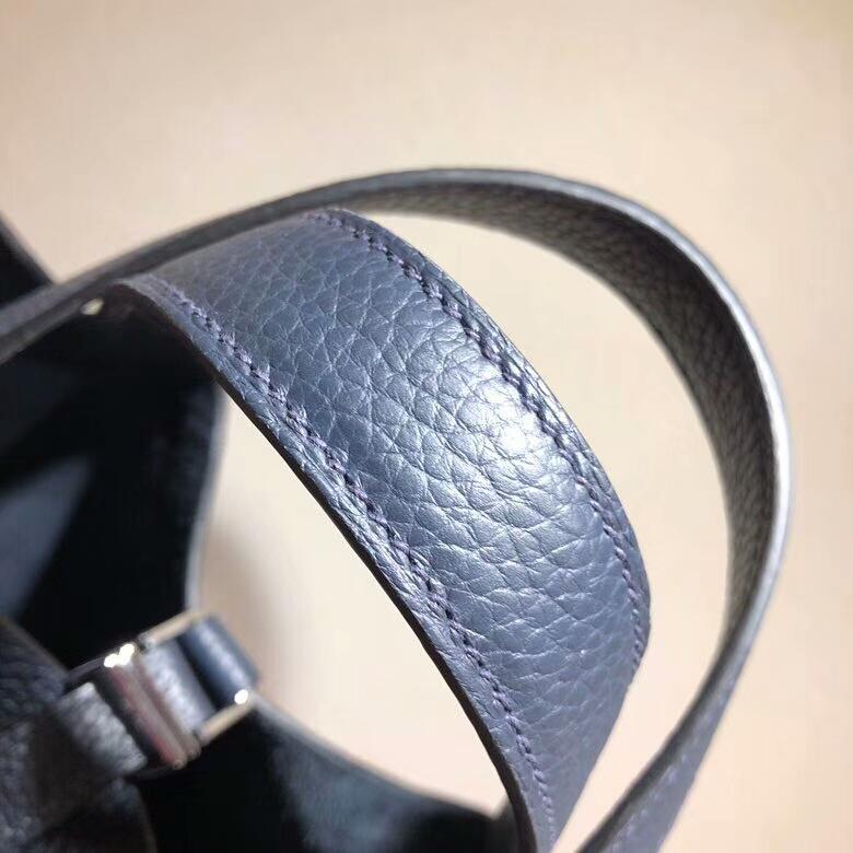 爱马仕菜篮子 Picotin Lock 18cm Clemence 2Z Blue Nurt 午夜蓝 银扣