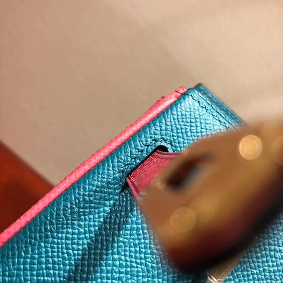 爱马仕铂金包 Birkin 25cm Epsom 75 Blue Paon 孔雀蓝拼 8W Rose Azalee 唇膏粉 金扣 H家进入全新拼色时代