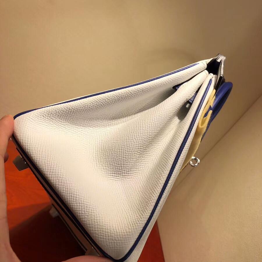 爱马仕铂金包 Birkin 25cm Epsom 1 Blanc 纯白拼7T Blue Htdra 电光蓝 金扣 H家进入全新拼色时代