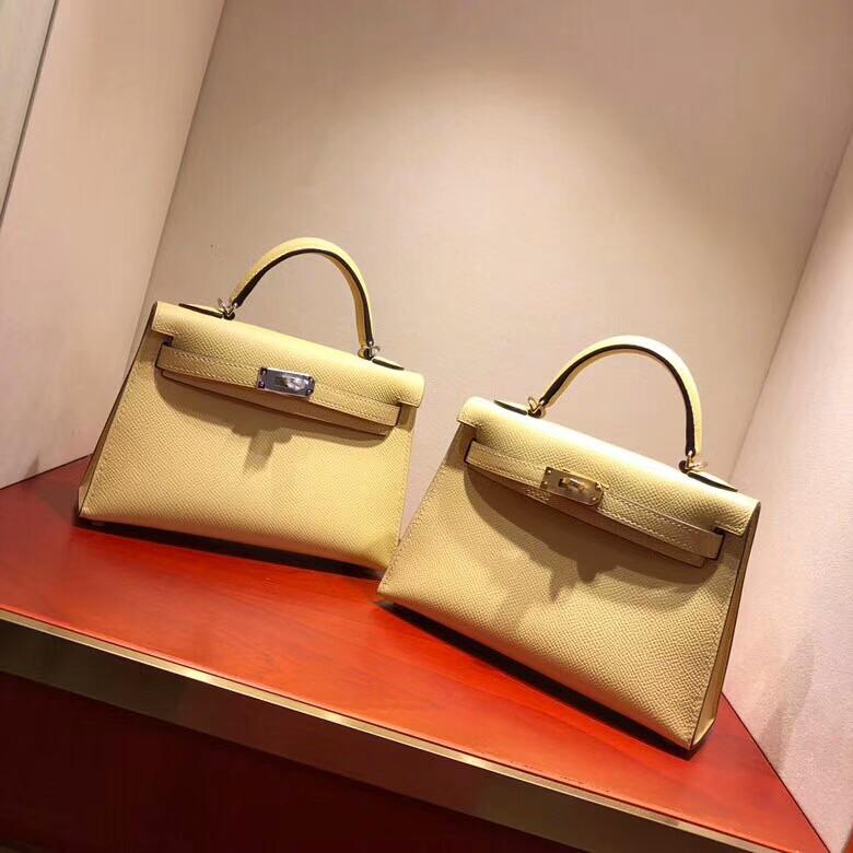 爱马仕包包 Mini Kelly二代 19cm Epsom C9 Soupre 鹅蛋黄 银扣 顶级工艺 手缝蜡线