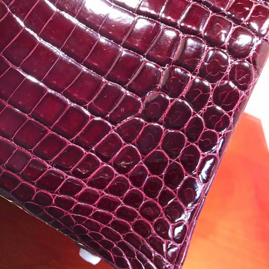 Hermes爱马仕 Birkin铂金包 25cm Shiny Niloticus Crocodile 亮面两点尼罗鳄 57 Bordeaux 波尔多酒红 金扣