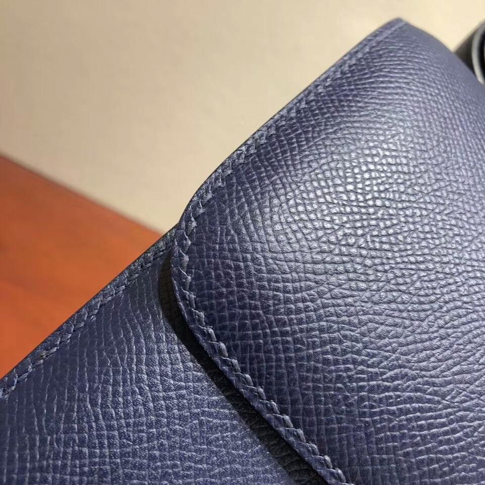 Hermes空姐包 Constance 24cm Epsom 73 Blue Saphir 宝石蓝 金扣 顶级工艺