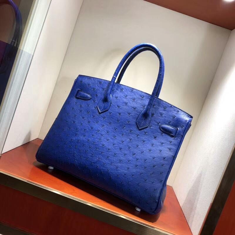 爱马仕包包批发 Birkin 30cm Ostrich Leather 7T Blue Htdra 电光蓝 金扣 手缝蜡线