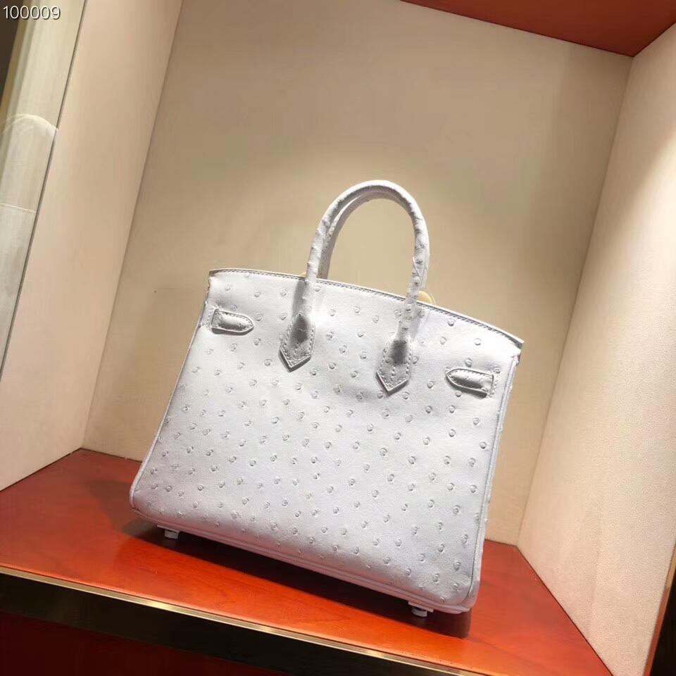 爱马仕包包批发 Birkin 25cm Ostrich Leather 01 Blanc 纯白 银扣 超级百搭小可爱