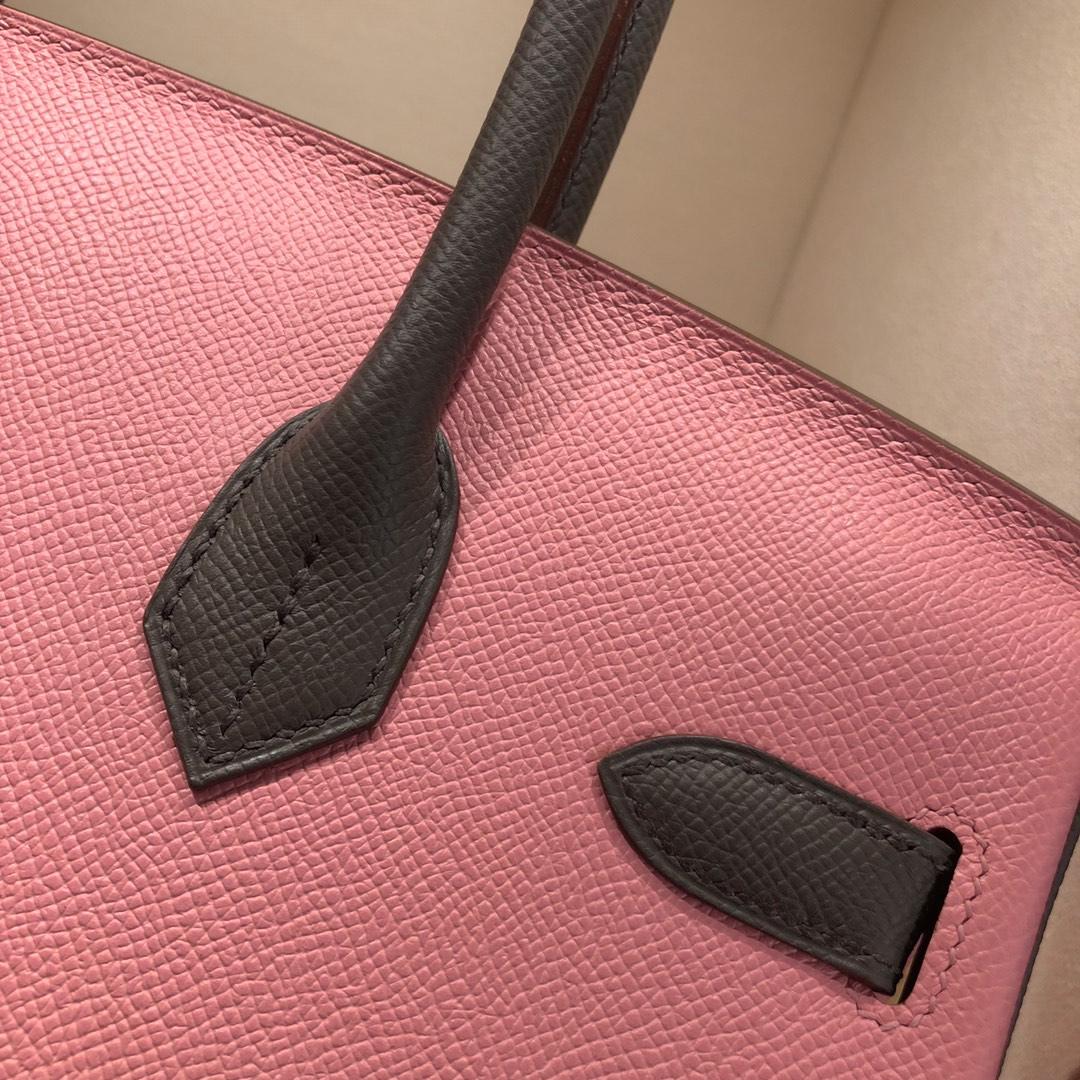 Hermes铂金包 Birkin 30cm Epsom 1Q Rose Conpetti 奶昔粉拼 8F Etain 锡器灰 金扣