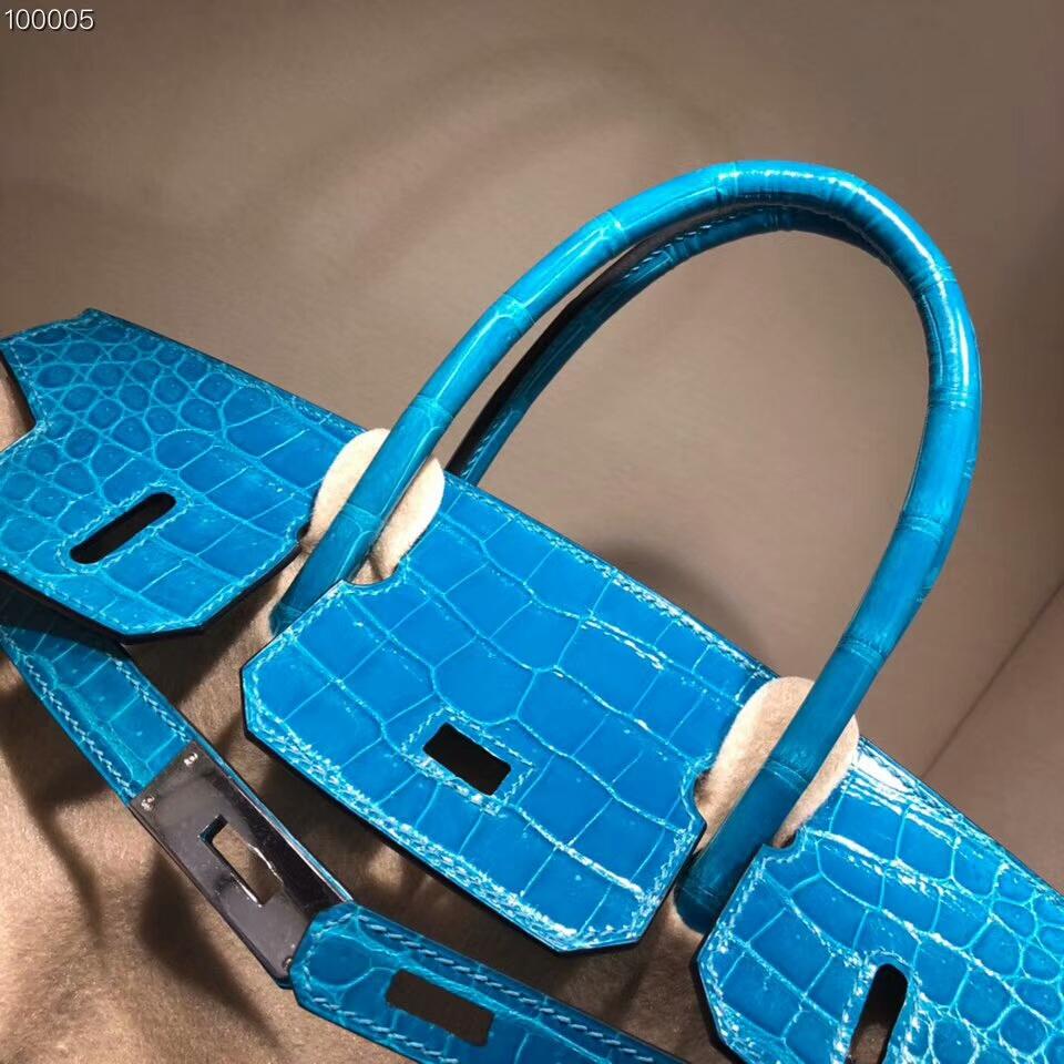 Hermes铂金包 Birkin 30cm Shiny Porosus Crocodile 亮面倒V湾鳄 7W Blue Ibmir 伊兹密尔蓝 银扣 顶级工艺