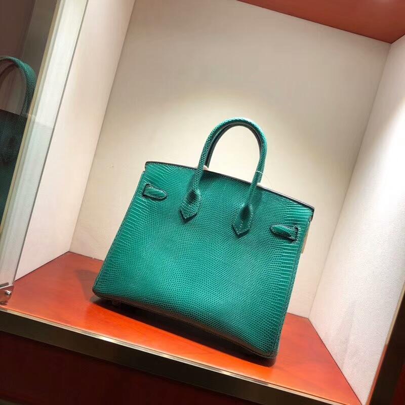 Hermes铂金包 Birkin 30cm Lizard蜥蜴背皮 6Q Emeraud 翡翠绿 银扣 顶级工艺手缝蜡线