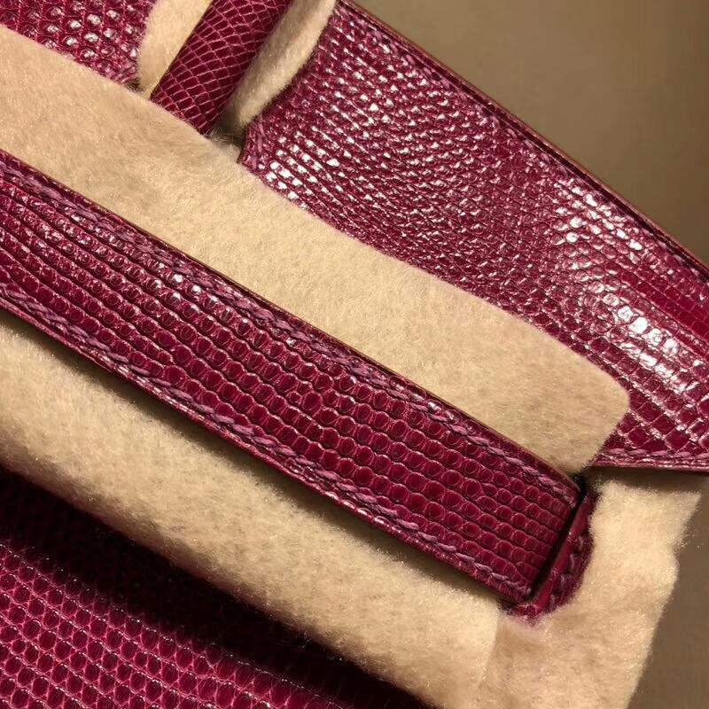 Hermes铂金包 Birkin 30cm Lizard蜥蜴背皮 K5 Tosca 托斯卡紫 银扣 顶级工艺手缝蜡线