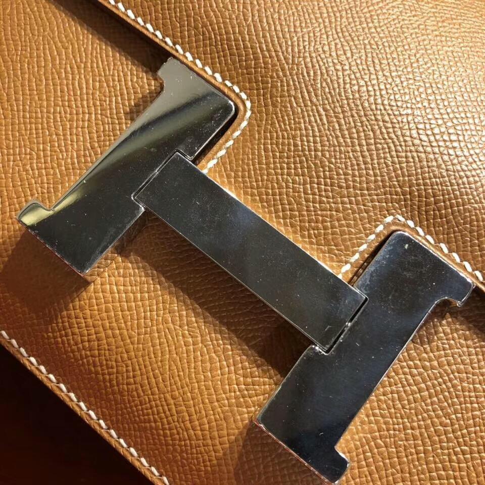 Hermes空姐包 Constance 24cm Epsom 1H Toffee 太妃糖色 银扣 顶级工艺