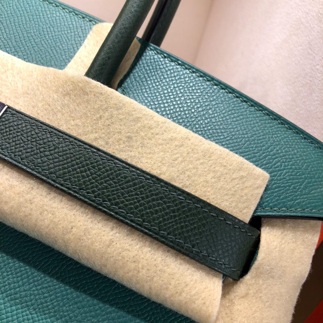 Hermes铂金包 Birkin 30cm Epsom Z6 Malachite 孔雀绿拼 2Q Vert Anglais 英国绿 银扣