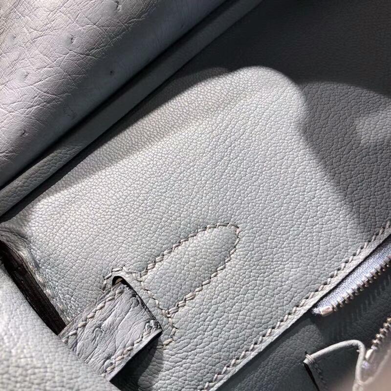 爱马仕包包批发 Birkin 30cm Ostrich Leather 8U Glacierw 冰川蓝 冰川灰色 银扣 手缝蜡线