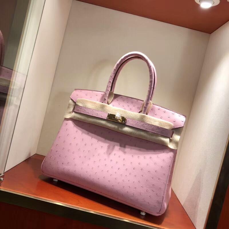 爱马仕包包批发 Birkin 30cm Ostrich Leather 3Q Rose Sakura 芭比粉 金扣 手缝蜡线