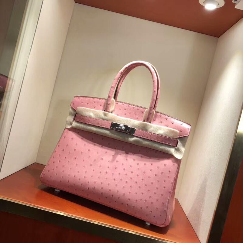 爱马仕包包批发 Birkin 30cm Ostrich Leather I5 Fiamingo 火烈鸟粉 银扣 手缝蜡线