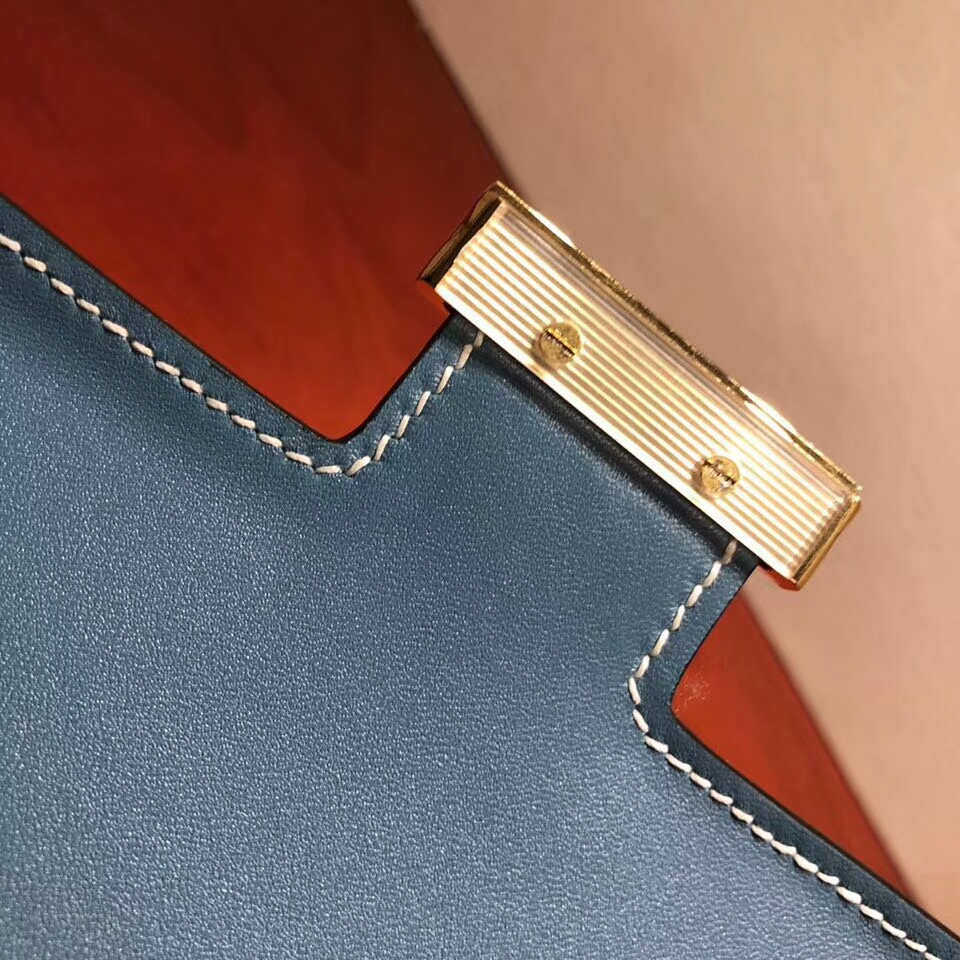 Hermes空姐包 Constance 24cm Epsom 75 Blue Jean 牛仔蓝 金扣 顶级工艺