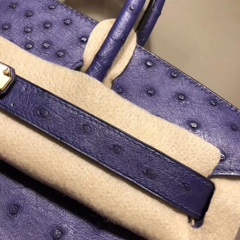 爱马仕包包批发 Birkin 30cm Ostrich Leather 9K Lris  鸢尾花紫 紫罗兰 金扣 手缝蜡线