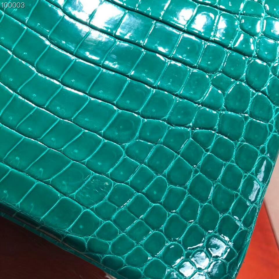 Hermes铂金包 Birkin 30cm Shiny Porosus Crocodile 亮面倒V湾鳄 6Q Emeraud 翡翠绿 金扣 顶级工艺