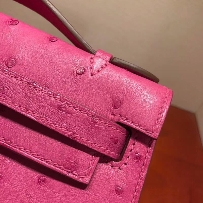 爱马仕包包批发 Mini Kelly Pochette 22cm Ostrich Leather L3 Rose Purple 玫瑰紫 金扣 顶级工艺手缝蜡线