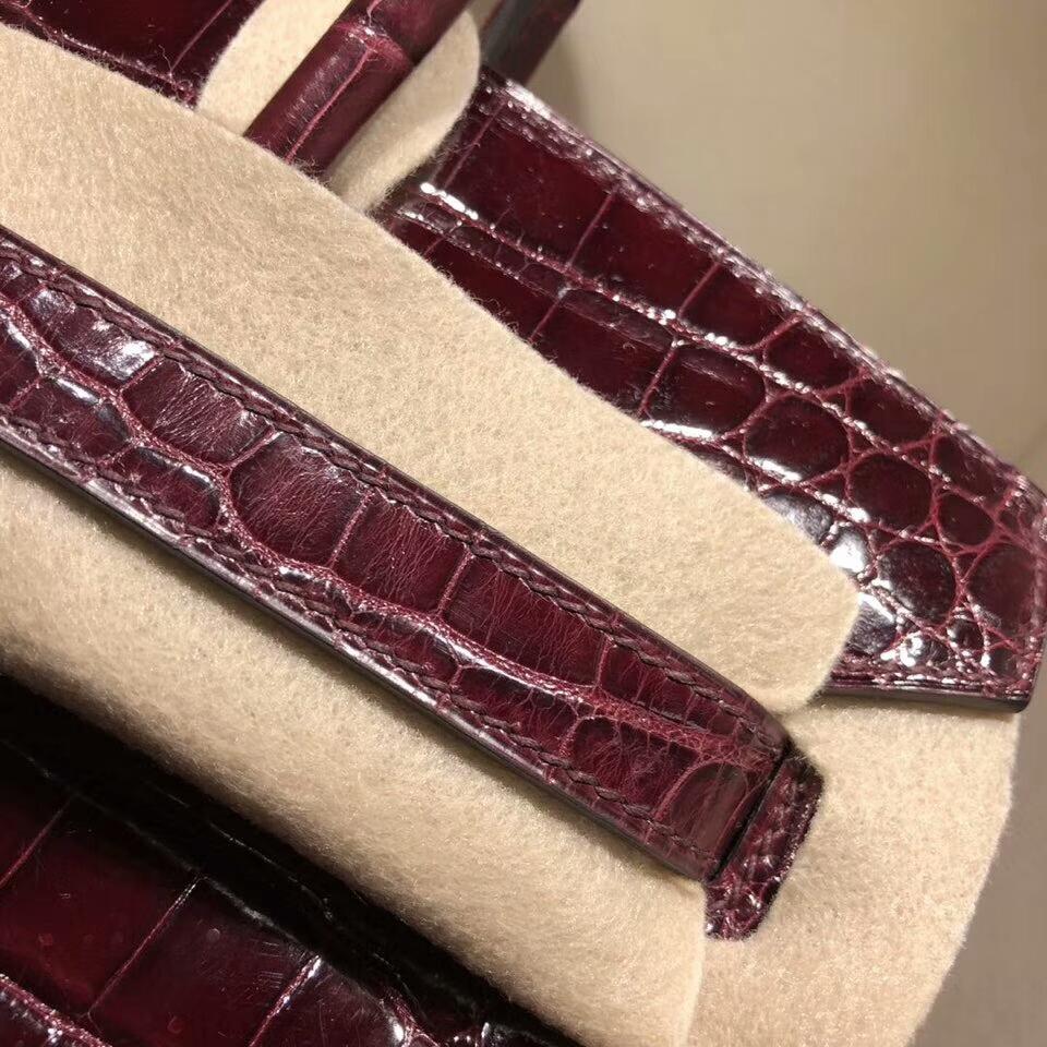 爱马仕铂金包 Birkin 30cm Shiny Niloticus Crocodile 亮面两点尼罗鳄 57 Bordeaux 波尔多酒红 金扣