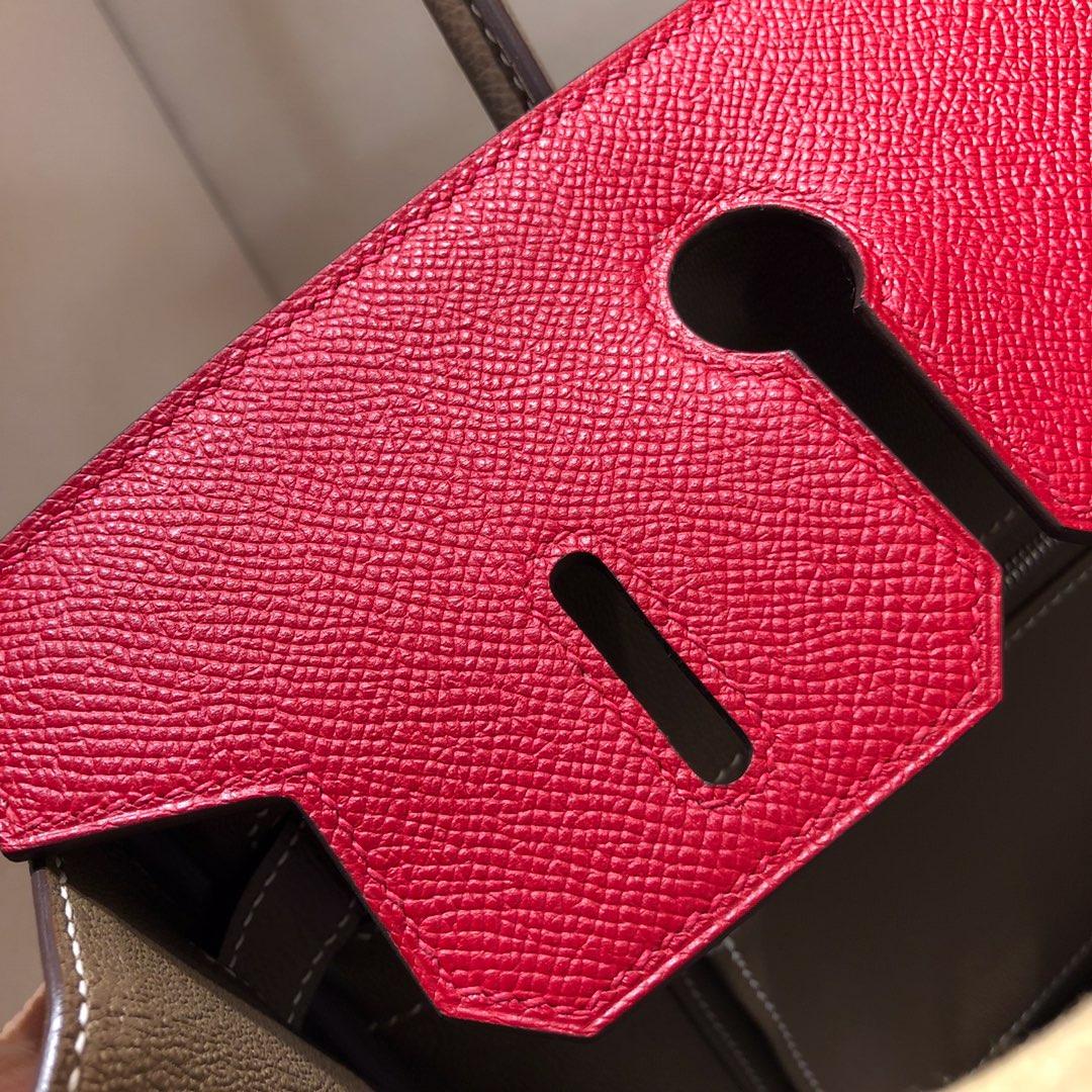 Hermes铂金包 Birkin 30cm Epsom Q5 Rouge Casaqbe 中国红拼 18 Etoupe 大象灰 银扣