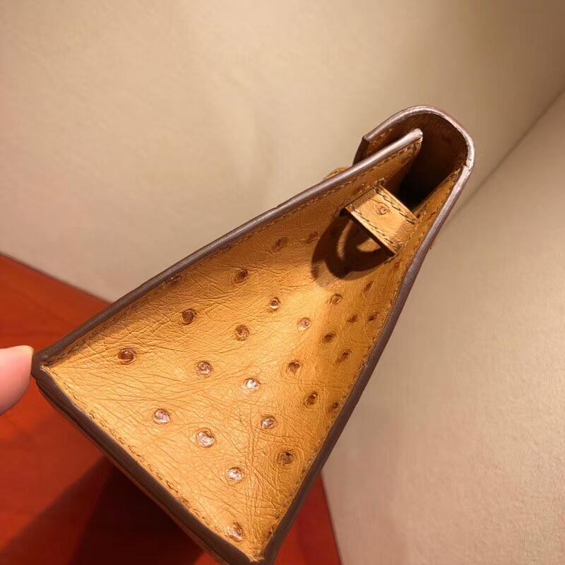 爱马仕包包批发 Mini Kelly Pochette 22cm Ostrich Leather 1A Paille 稻草黄 金扣 顶级工艺手缝蜡线