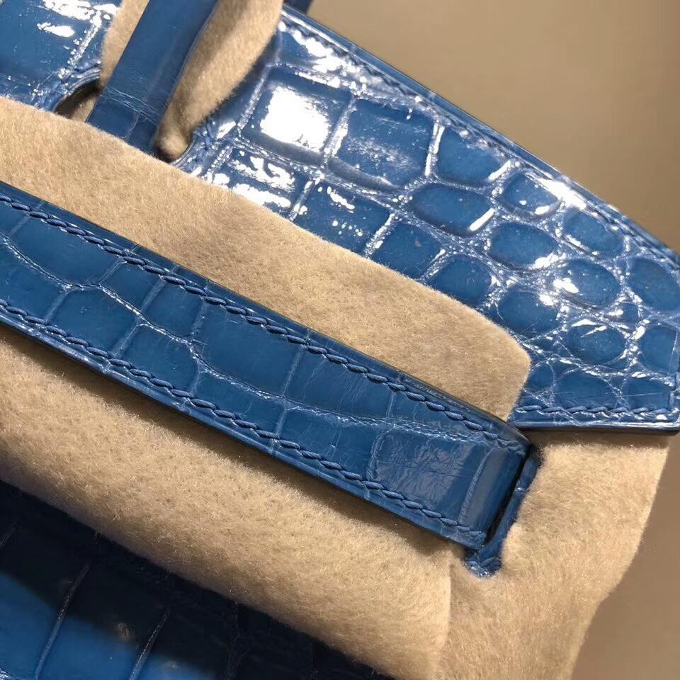 爱马仕铂金包 Birkin 30cm Shiny Niloticus Crocodile 亮面两点尼罗鳄 7W Blue Ibmir 伊兹密尔蓝 银扣