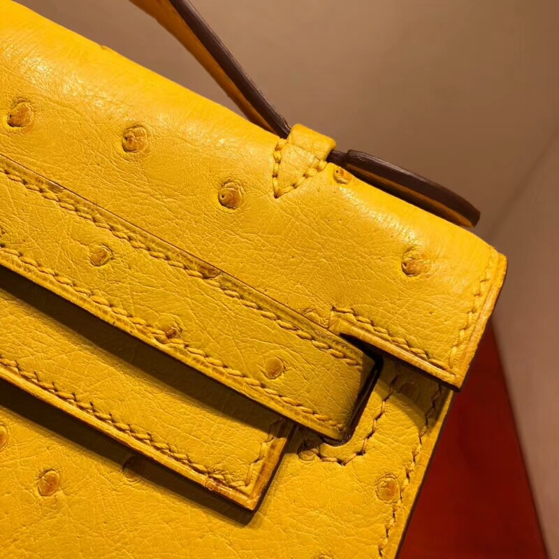 爱马仕包包批发 Mini Kelly Pochette 22cm Ostrich Leather 9D Jaune Amber 琥珀黄 金扣 顶级工艺手缝蜡线