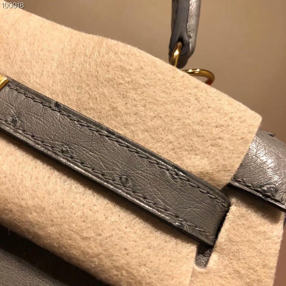 爱马仕包包批发 Kelly 25cm Ostrich Leather 8F Etain 锡器灰 金扣 超级百搭小可爱