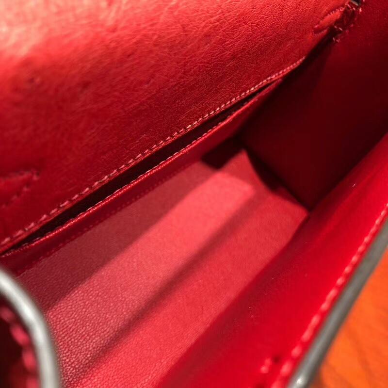爱马仕包包批发 Mini Kelly Pochette 22cm Ostrich Leather Q5 Rouge Casaqbe 中国红 金扣 顶级工艺手缝蜡线