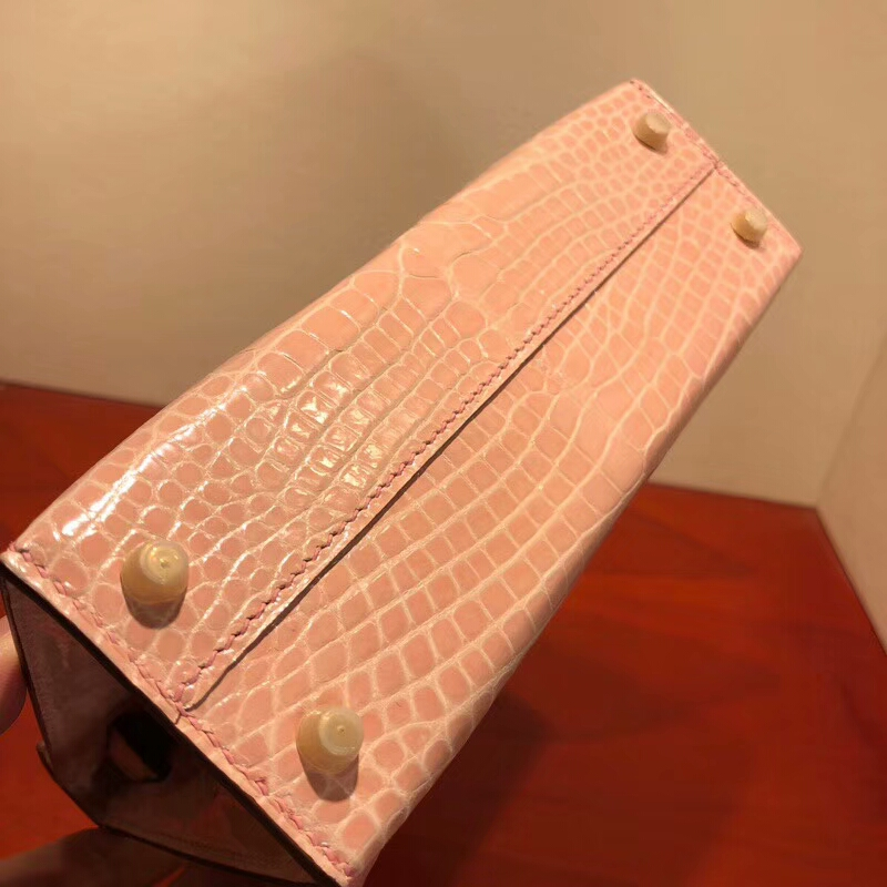爱马仕包包 Mini Kelly 二代 19cm Shiny Alligator Crocodile 亮光方块美洲 P1 Rose Eglantine 蔷薇粉 金扣 全手缝蜡线