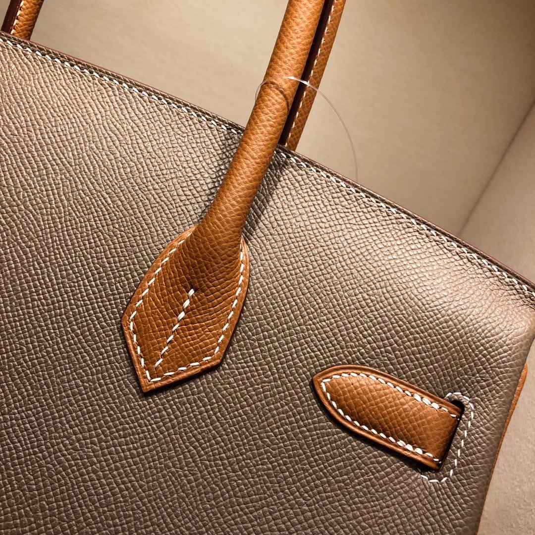 Hermes铂金包 Birkin 30cm Epsom 18 Etoupe 大象灰拼 37 Gold 金棕 银扣
