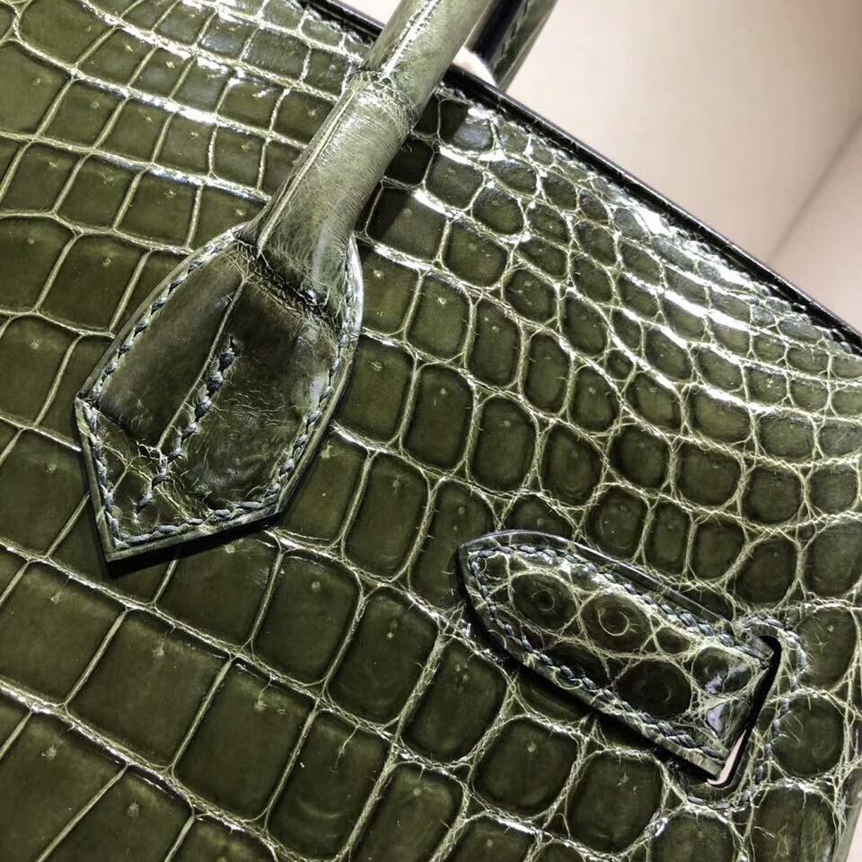 爱马仕铂金包 Birkin 30cm Shiny Niloticus Crocodile 亮面两点尼罗鳄 61 Vert Olive 橄榄绿 银扣