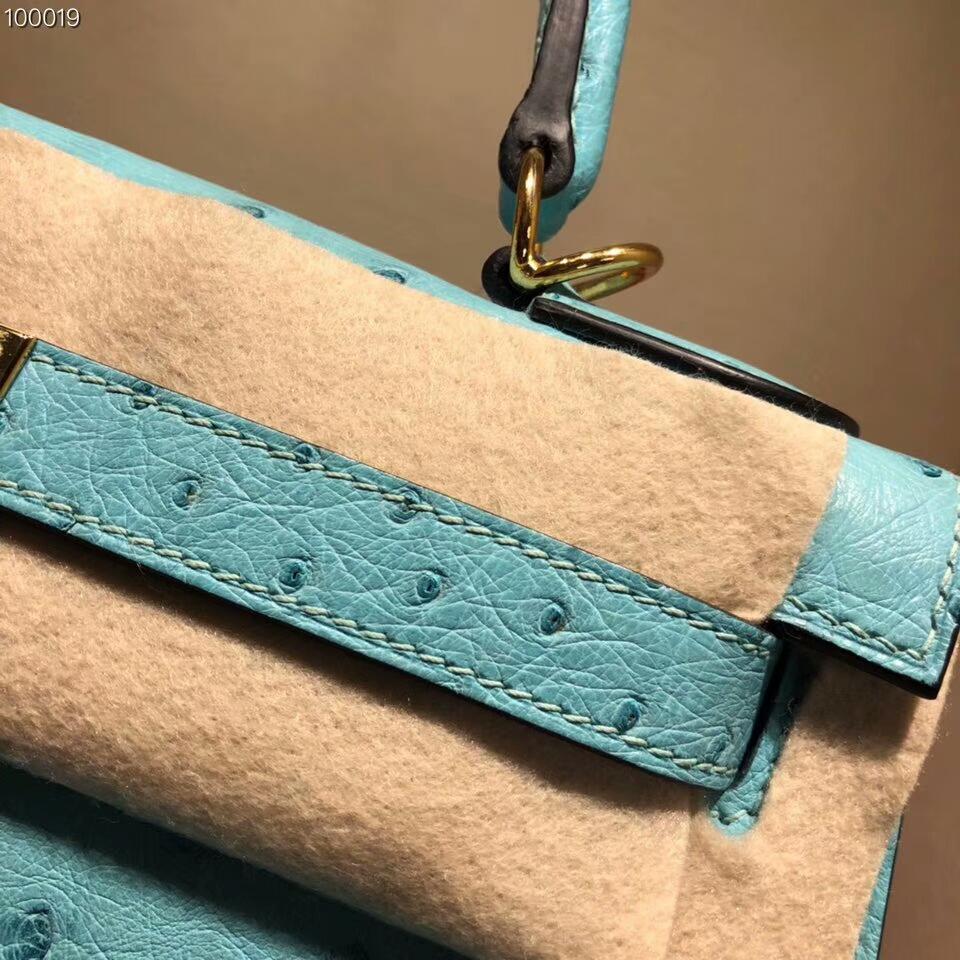 爱马仕包包批发 Kelly 25cm Ostrich Leather 3P Blue Atoll 马卡龙蓝 金扣 超级百搭小可爱