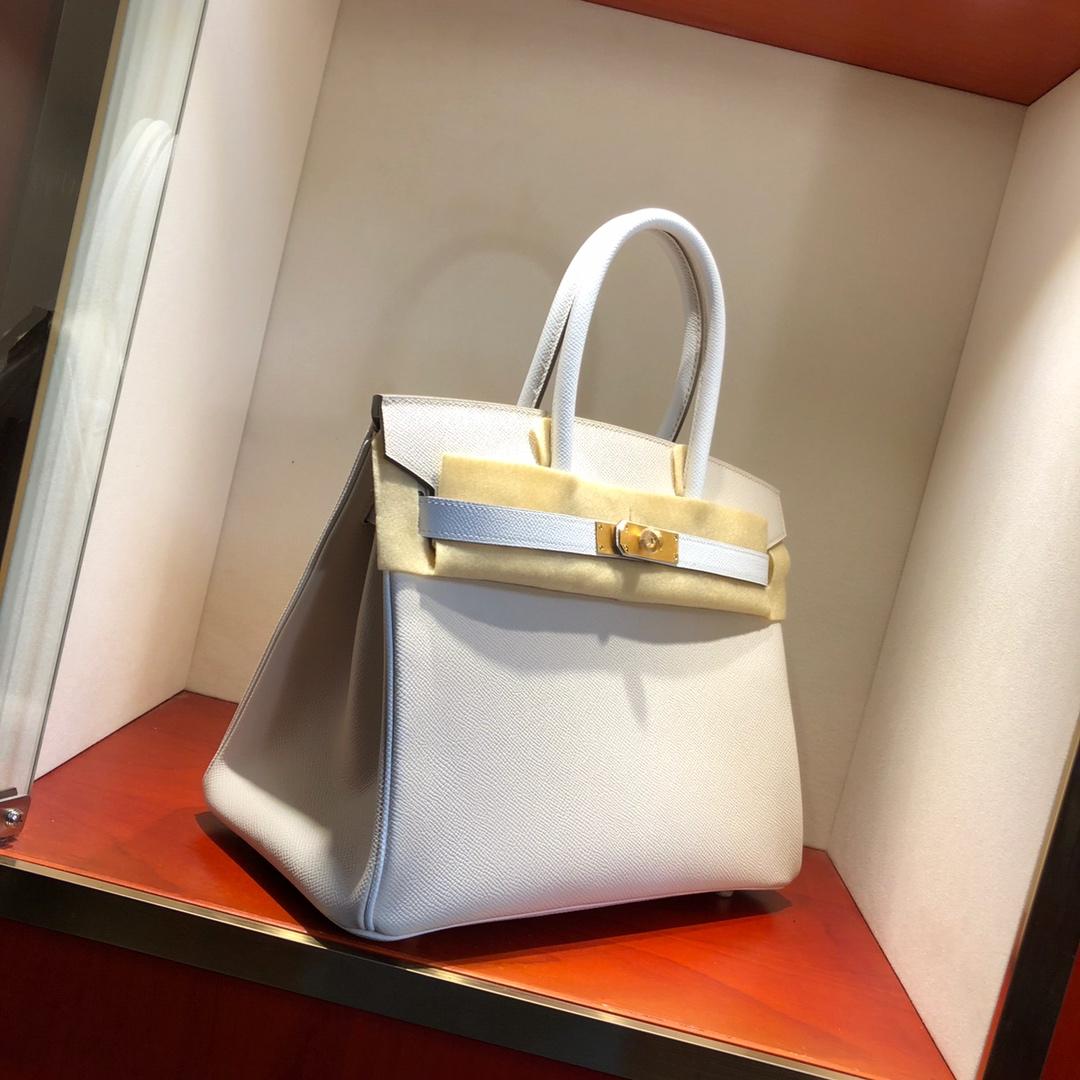 Hermes铂金包 Birkin 30cm Epsom 10 Craie 奶昔白拼 1 Blanc 纯白 金扣