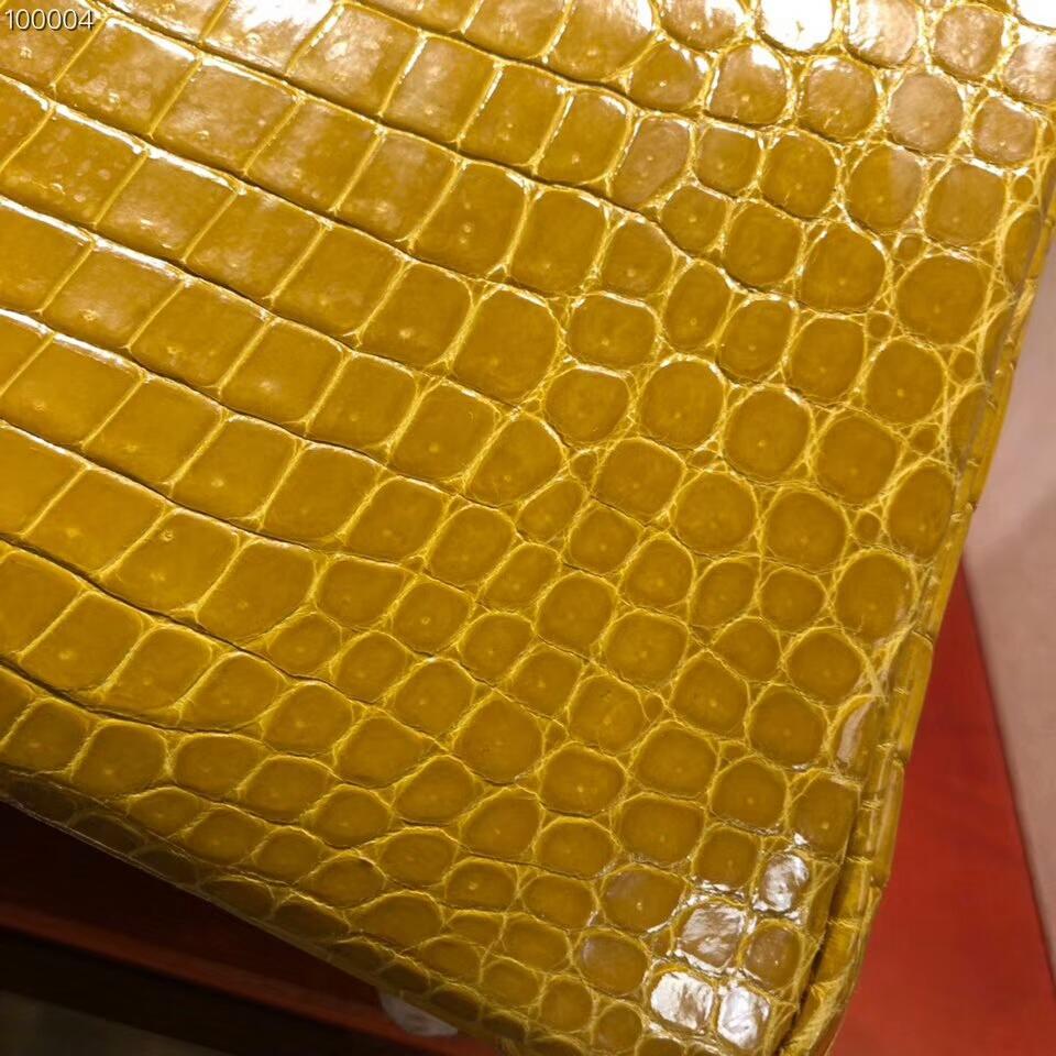 Hermes铂金包 Birkin 30cm Shiny Porosus Crocodile 亮面倒V湾鳄 9D Jaune Amber 琥珀黄 金扣 顶级工艺