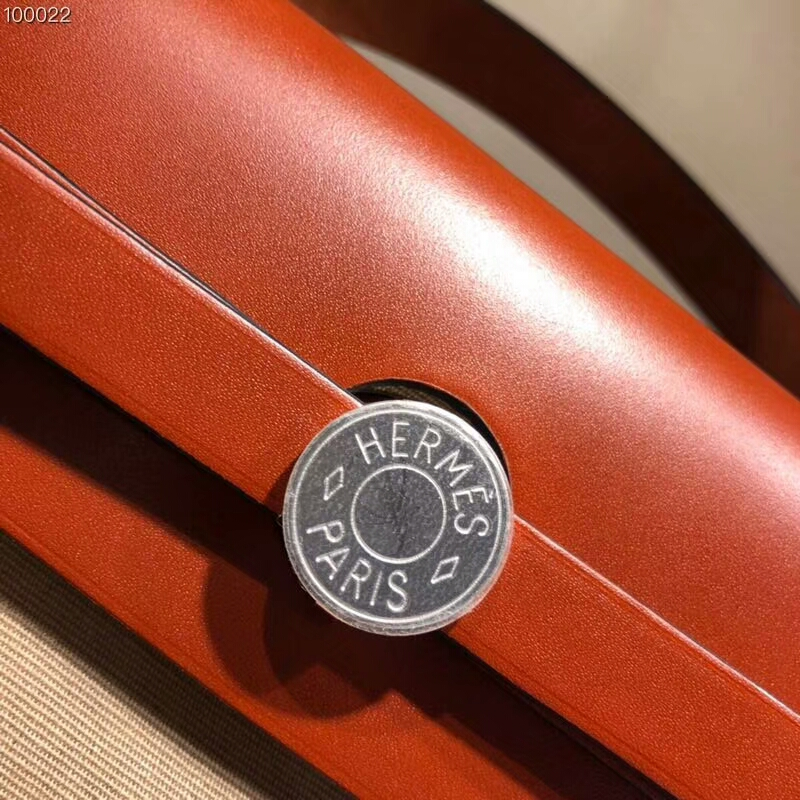 爱马仕官网 Herbag 31cm Barenia S2 Trench 风衣灰 银扣 顶级工艺帆布系列