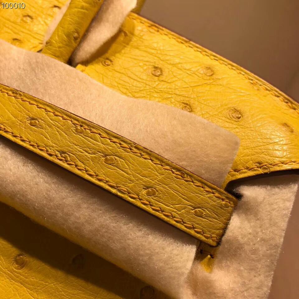 爱马仕包包批发 Birkin 25cm Ostrich Leather 9D Jaune Amber 琥珀黄 金扣 超级百搭小可爱