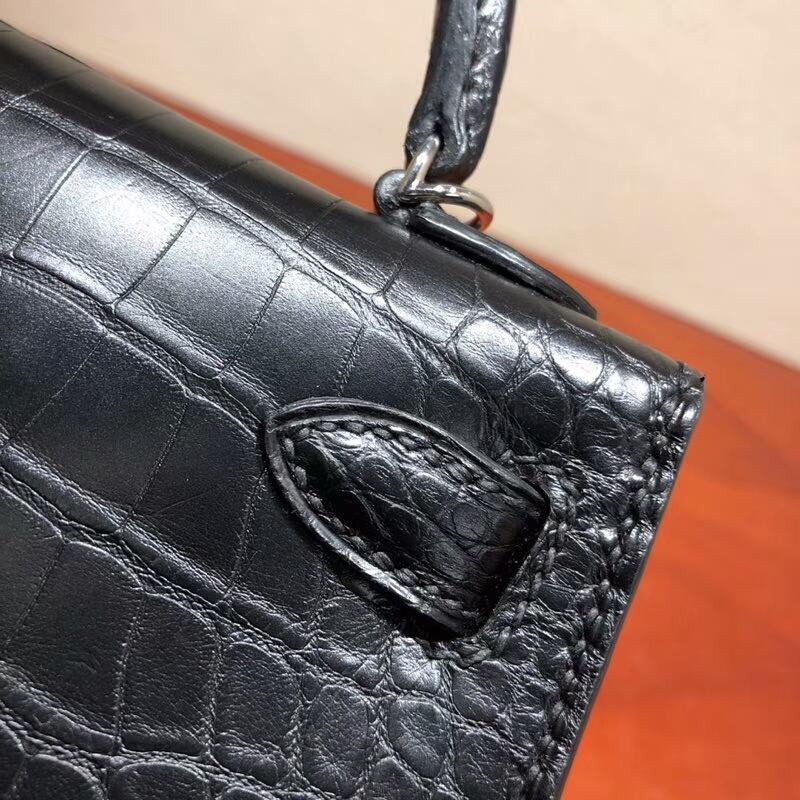爱马仕包包 Mini Kelly Shiny Alligator Cracodile 亮面美洲方块鳄鱼 89 Noir 黑色 银扣